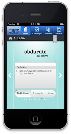 "This is a screenshot from the ZAPS College Vocabulary App, showing the definition of the word ""obdurate."""