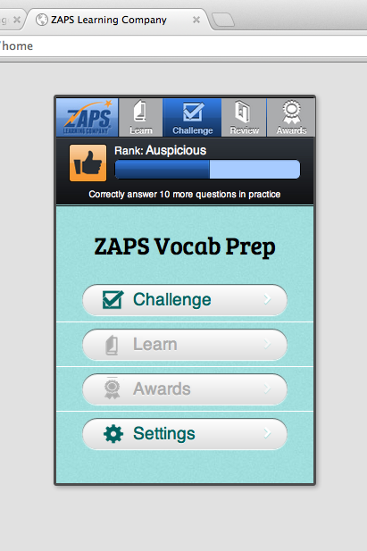 This is a photo of the ZAPS Vocabulary Challenge on a computer screen.