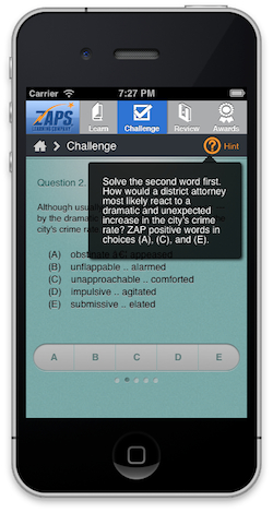 This is a screenshot of the ZAPS College Vocabulary Challenge app, showing a tip to help students ZAP the wrong answers and choose the correct one.